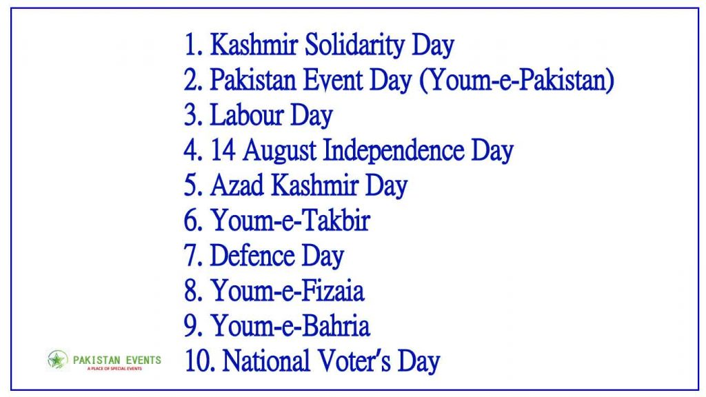 Top 10 National Events of Pakistan